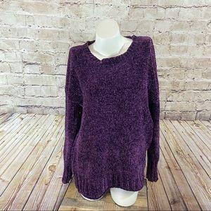 Seven7 purple crew neck sweater size small